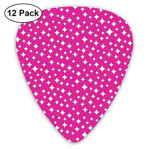 (Airwaves (Pink Riot) Atomic Midcentury Modern Stars Galaxy Outer Space Sky Classic Celluloid Picks, 12-Pack, For Electric Guitar, Acoustic Guitar, Mandolin, And Bass)