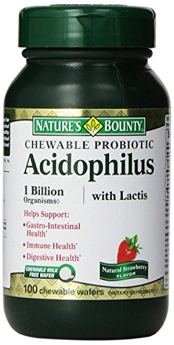 Nature's Bounty Acidophilus with Lactis Chewable Milk Free Wafers, Natural Strawberry Flavor, 100 Count