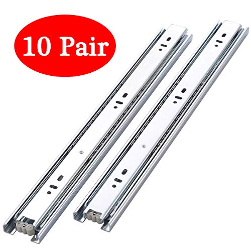 Berliget 10 Pair of 22 Inch Full Extension Hardware Ball Bearing Side Mount Drawer Slides, Full Extension Stainless Steel Slides Available in 12