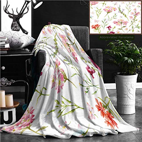 Nalagoo Unique Custom Flannel Blankets Watercolor Floral Pattern Delicate Flower Wallpaper Wildflowers Pink Retro Super Soft Blanketry for Bed Couch, Throw Blanket 60