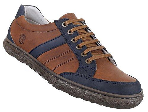Herren Sneaker Schuhe Leder außen und innen Low-top Halbschuhe braun grau schwarz 41 42 43 44 45 46 47 Braun