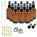 Pack of 12, 2 oz Amber Glass Bottles with Black Fine Mist Sprayers by Mavogel, Including 2 Extra Black Fine Mist Sprayers, 2 Stainless Steel Mini Funnel, 2 Transfer Pipettes, 12 Bottle Labels