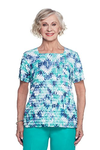 Alfred Dunner Women's Petite Tiered Blouse Abstract Print, Blue/Multi, PM (Alfred Dunner Petite Blouse)