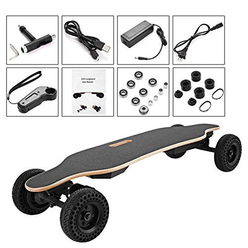 Fashine 32in Electric Skateboard with Changeable Tires & Wireless Remote Controller, 450W Single...