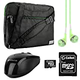 VanGoddy NineO Laptop Messenger Bag for 15.6 inch Laptops with Pink Headphones & USB Mouse & 16GB Memory Card, Green