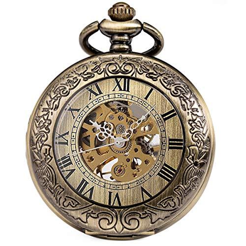 SIBOSUN Pocket Watch Mechanical Skeleton Antique Men Bronze Roman Numerals Hand - Men Watch Antique