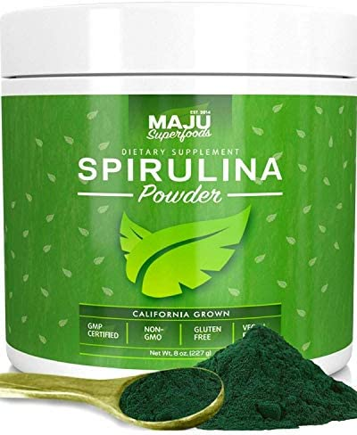MAJU s Spirulina Powder, Microcystin Free, USA Grown, Non-Irradiated, Non-GMO, Preferred to Chlorella, Pesticide-Free, Preferred to Organic Hawaiian Blue Algae, Pure Vegan Green Protein