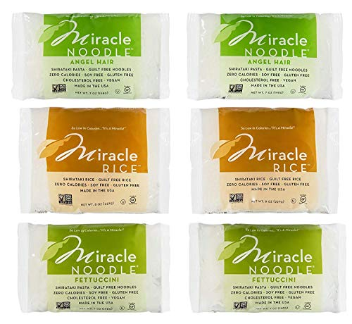 Miracle Noodle Shirataki Konjac Pasta and Rice Variety Pack, 7 oz (Pack of 6), Angel Hair, Rice, Fettucine, Zero Net Carbs, Low Calorie, Gluten Free, Soy Free, Keto Friendly