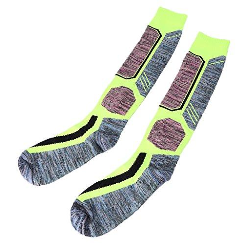 Hukai Men Women Cycling Snowboard Ski Football Sports Socks Camping Hiking Breathable (Fluorescent green, L)