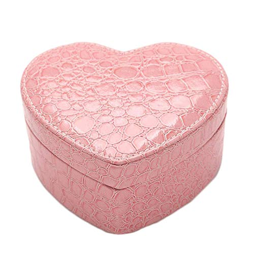 young Forever Heart Shape Jewelry Box Display Organizer Holder with Mirror PU Leather Travel Case Storage Box 2019 Best (Pink) ()