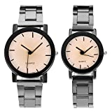 Top Plaza His and Hers Valentine's Day Gift Couples Watches All Black/Brown Bracelet Watch Simple Elegant Design