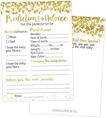 50 Gold Baby Prediction And Advice Cards Baby Shower Games For