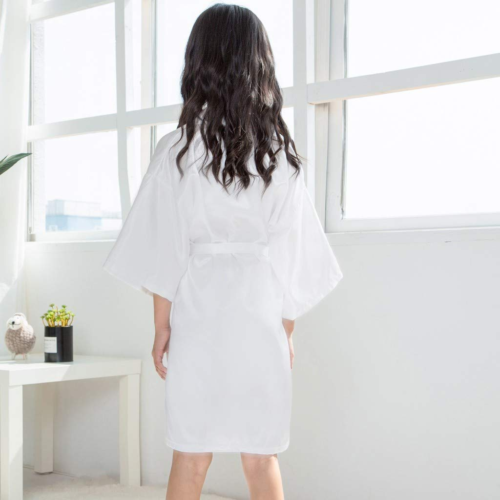 Clothful???????????? , Toddler Baby Kids Girls Solid Silk Satin Kimono Robes Bathrobe Sleepwear Clothes White by Clothful (Image #2)