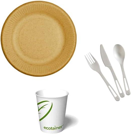 Platos de fibra biodegradable para plantas (50 unidades) + vasos ...