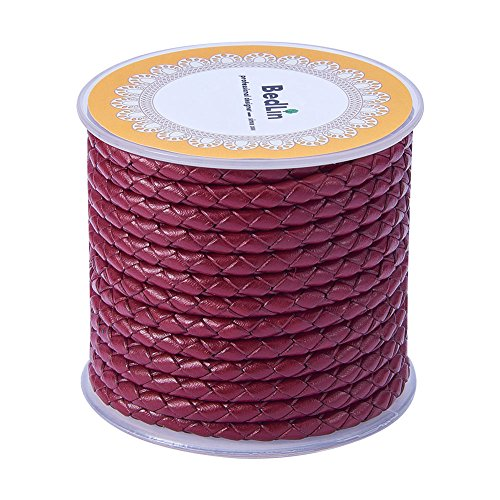 PandaHall Elite 5.5 Yard 4mm Round Folded Bolo PU Braided Leather Cord Bolo Tie for Necklace Bracelet Jewelry Making Red