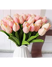 DecoForU 15 Pcs Artificial Tulips Flowers Real Touch Fake Flowers Artificial Flowers PU Artificial Tulips Flowers Arrangement Bouquet Decoration for Home Living Room Dinning Room Office Wedding Party