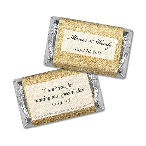 Wedding Favors Personalized Wrappers for Hershey's Miniatures - Gold (100 Count)