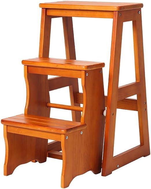 Qi Tai Hogar de Madera Antideslizantes Escalera Plegable de múltiples Funciones de los niños portátil Taburete de Cocina de 3 Pisos Taburete de Paso de heces Muebles Escalera telescópica: Amazon.es: Hogar