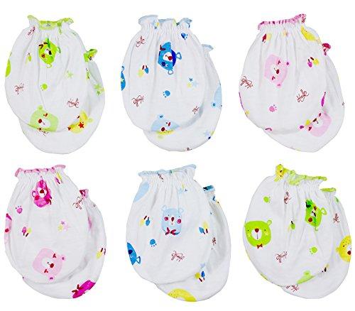 Clickcago Newborn Baby Boys and Girls Gloves,No Scratch Mittens 100% Cotton 6 Pair/set2