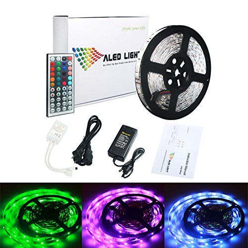 LED Strip, ALED LIGHT 32.8ft 10M SMD 5050 300leds RGB Non-Waterproof Flexible Color Changing LED Strip Light Kit  44Key Remote 24V 3A Power Supply Decorative Light for Christmas Home Party -