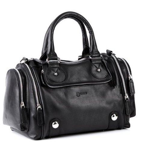 BACCINI bolso de mano DAPHNE: cartera con asas cortas para mujer estilo tote-bag de cuero negro - (40 x 23 x 17cm)