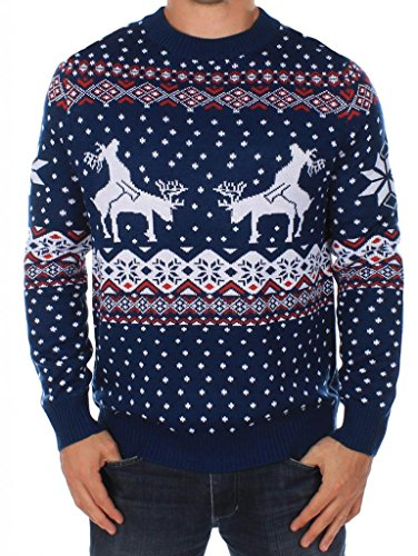 Men's Ugly Christmas Sweater - Reindeer Climax Tacky Christmas Sweater Blue Size L