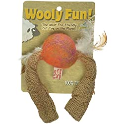 One Pet Planet Wooly Fun Tussle Ball with Feathers