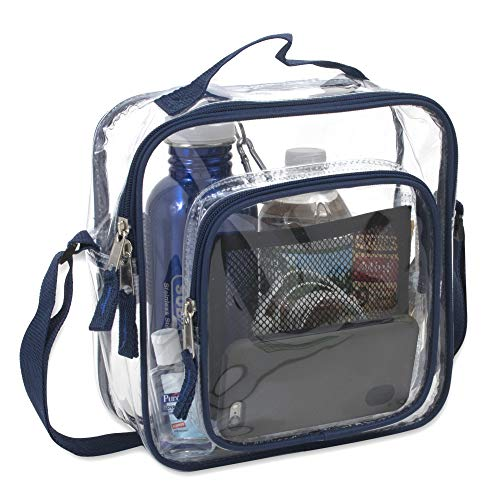 - Clear Bag Stadium Approved - Transparent Clear Tote Bag for Security, Work, Travel, More (Navy)
