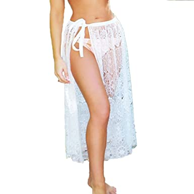 a26a8e1d6a Romacci Women Beach Sarong Sheer Crochet Lace Chiffon Tie Split Hollow Out  Sexy Bikini Cover up Skirt Black/White, S-XL: Amazon.co.uk: Clothing
