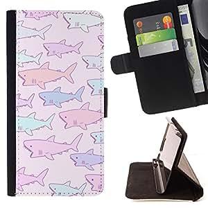 - shark baby drawing purple pink blue - - Prima caja de la PU billetera de cuero con ranuras para tarjetas, efectivo desmontable correa para l Funny HouseFOR HTC DESIRE 816