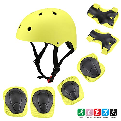 Kuulla Kids Toddler Protective Gear Set - 3 to 8 Years Old - Unisex for Girls and Boys - Yellow Helmet and Pads - Elbow Knee Skateboard Gear - Other Extreme Sports Activities
