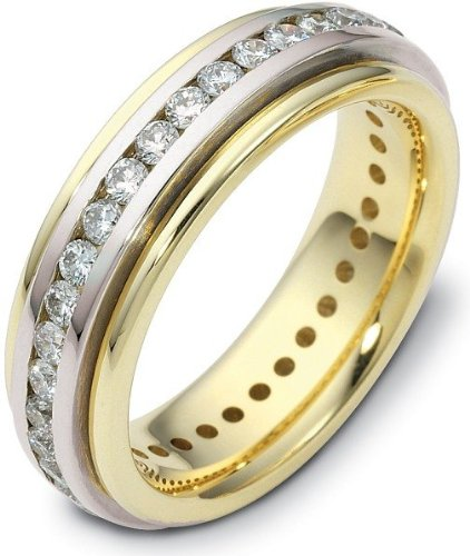 Spinning Diamond Wedding Band Ring - 6mm Titanium & 18 Karat Yellow Gold 32 Diamond SPINNING Wedding Band - 12.25