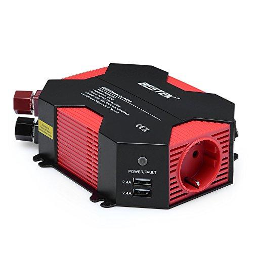 BESTEK 400W Auto Wechselrichter DC 12V auf AC 230V 4 USB Anschlüsse 1 Euro Steckdose, mit Batterieclip und Zigarettenanzünder Stecker