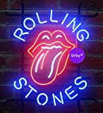 Urby™ 24''x20'' Rolling Stone Handmade Real Glass Neon Sign (MultipleSizes) Beer Bar Light Handicraft U106