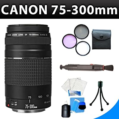 Canon EF 75-300mm f/4-5.6 III Telephoto Zoom Lens + 3Pcs Lens Accessory Kit For Canon EOS Rebel XS(1000D), XSI(450D) DSLR Camera by Zeemo