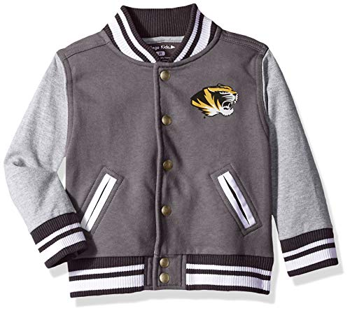 NCAA Missouri Tigers Children Unisex Toddler Letterman Jacket, 2 Toddler, Pewter/Oxford
