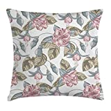 Ambesonne Vintage Floral Throw Pillow Cushion Cover, Classical Soft Toned Shabby Chic Bouquet Petal Nature Design, Decorative Square Accent Pillow Case, 18 X 18 Inches, Slate Blue Dried Rose