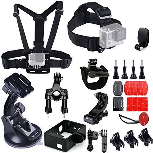 Smatree 25-in-1 Accessories Kit with Wirst/Head/Chest Strap Mount for Gopro HD Hero 4, 3+, 3 Camera