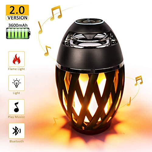 Led Flame Speakers, Flame Torch Atmosphere Speaker Bluetooth 4.2 Wireless Portable Outdoor HD Audio Waterproof Speaker with LED Flickers Warm Night Lights for iPhone/iPad/Android