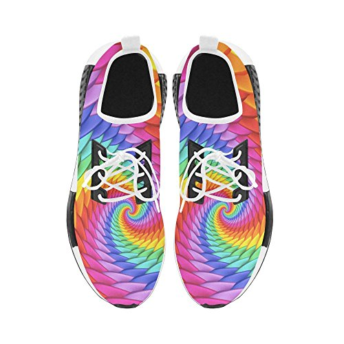 Artsadd Psychedelic Rainbow Spiral Draco Bonuce Running Mens Shoes