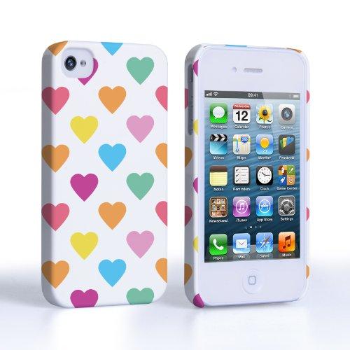 Caseflex iPhone 4 / 4S Hülle Mehrfarbig Polka Herzen Valentinstag Hart Hybride Schutzhülle