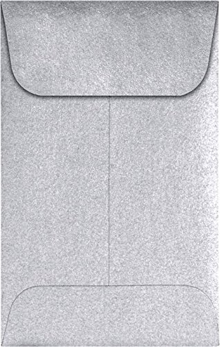 #1 Coin Envelopes (2 1/4 x 3 1/2) - Silver Metallic (1000 Qty.) | Perfect for the HOLIDAYS, Weddings, Parties & Place Cards | Fits Small Parts, Stamps, Jewelry, Seeds | 1COSIL-1M by LUXPaper
