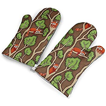 VshiXzno Forest Red Panda Oven Mitts,Professional Heat Resistant to 500¡« F,1 Pair of Non-Slip Kitchen Oven Gloves for Cooking,Baking,Grilling,Barbecue Potholders