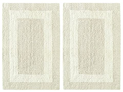 Cotton Craft 2 Piece Reversible Step Out Bath Mat Rug Set 21x34 Ivory, 100% Pure Cotton, Super Soft, Plush & Absorbent, Hand Tufted Heavy Weight Construction, Full Reversible, Rug Pad (Bath Rug Sets 2 Piece)