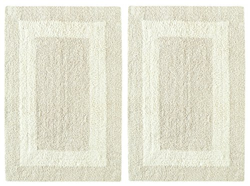 Tufted Mat Floor Rug (Cotton Craft 2 Piece Reversible Step Out Bath Mat Rug Set 17x24 Ivory, 100% Pure Cotton, Super Soft, Plush & Absorbent, Hand Tufted Heavy Weight Construction, Full Reversible, Rug Pad Recommended)