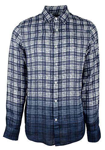 - Michael Kors Men's Slim Fit Dip-Dyed Gingham Shirt-M-M