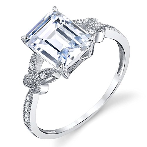 2.5 Carat Emerald Cut Engagement Sterling Silver Ring Dainty Butterfly Accents on the sides of shank Brilliant Cut Butterfly Ring