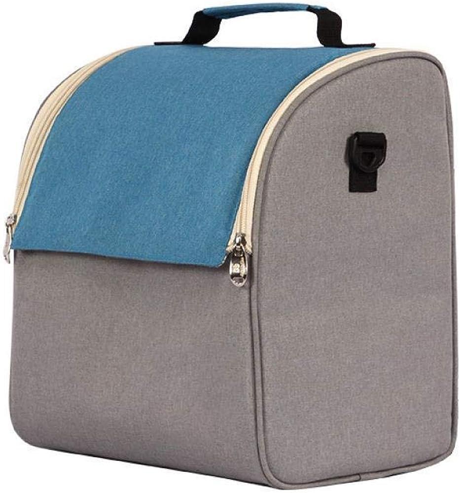 ランチボックスバッグブルー+グレーファッション旅行ピクニックバッグファッションカジュアルバッグEVA防水アイスバッグオックスフォード布ランチバッグ