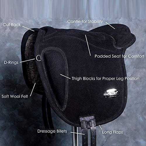 HILASON Sp100-F Baretek English Leather Bareback Horse Saddle Pad Trail Riding
