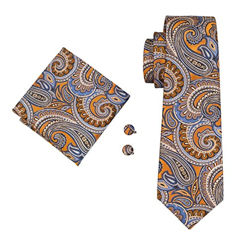 (Hi-Tie Men Yellow Gold Paisley Floral Tie Necktie with Cufflinks and Pocket Square Tie Set)